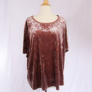 Ava & Viv Crushed Pink Velvet Top